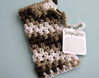 Mocha colored soap saver browns cotton yarn soap bag