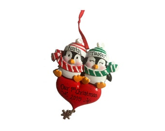 Penguin Couple Big Heart Personalized Christmas Ornament / Penguins / First Christmas / Couple / Valentines / Gift for Her