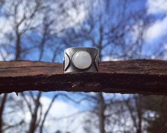 Phases of the moon- Moonstone Sterling Silver Ring