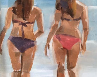 Beach Babes, Original Oil Painting, 5 x 7 inches, free domestic shipping