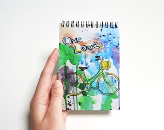 Bullet journal for writing with bicycle, spring notebook, art notepad, watercolor sketchbook, hippie gift, best friend funny gift