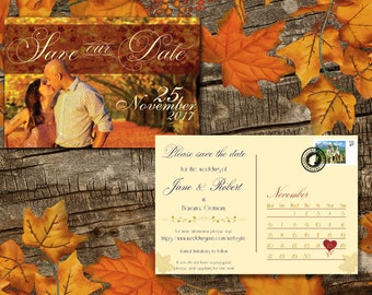 Printable Save the Date Template | Save the Date Postcard Template | Save the Date Printable Fall Postcard | Fall Save the Date Card