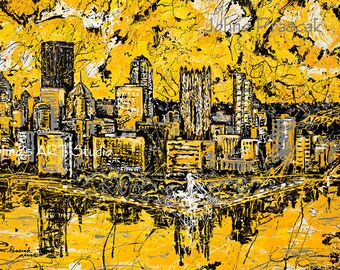 Pittsburgh Skyline art, 20 x 30 metal print,  Modern wall art, Pittsburgh Artist, Black n Gold, Three Rivers ,The Point,  by Johno Prascak