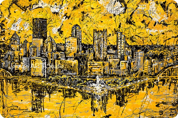 Pittsburgh Skyline art, 20 x 30 metal print, Modern wall art, Pittsburgh Artist, Black n Gold, Three Rivers ,The Point, by Johno Prascak