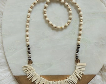 Kai Coconut Palm Wooden Beaded Necklace