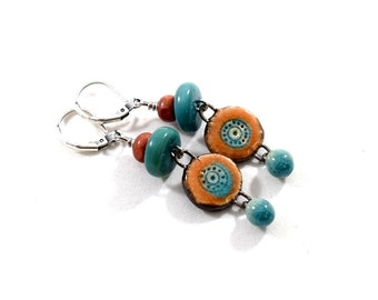 Turquoise and Orange Stoneware Handmade Earrings, Artisan Earrings, Boho Earrings, Silver Earrings, Handmade Earrings, Stoneware, E052