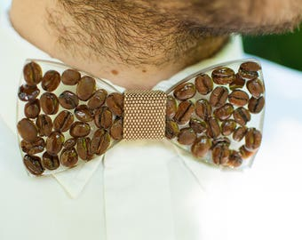 Crystal Bow Tie - filled with natural coffee beans // Gifts for Him // Gifts fo Her // Unique Fashion Accessory