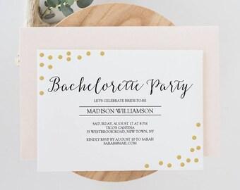 Printable Bachelorette Party Invitation - Gold Confetti - Editable PDF Template - Instant Download - Gold foil Invite - 5x7 inches - #GD0609