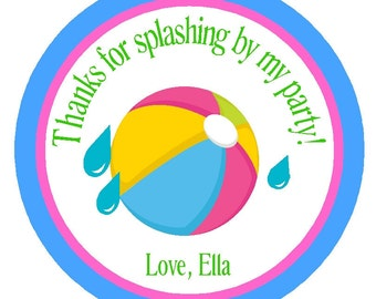 Pool Party Personalized Party Favor Tags/Set of 12/Summer Party Stickers/Favor Tags/Card Embellishments/ Decorations