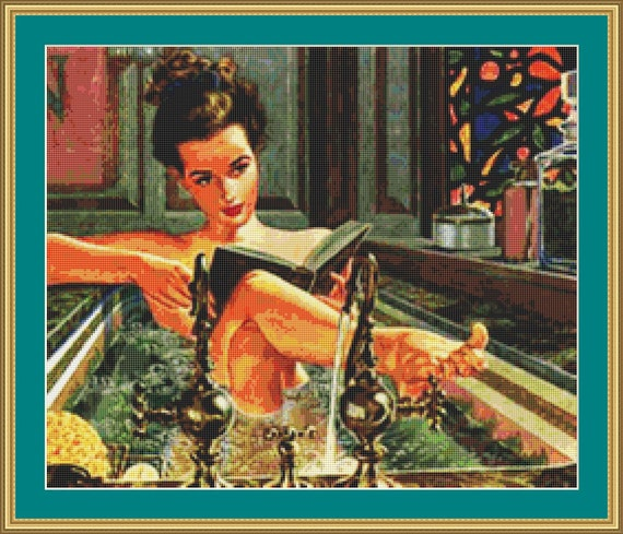 Reading In The Bath Cross Stitch Pattern /Digital PDF Files /Instant downloadable