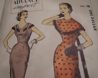 SALE Vintage 1950's Advance Import number 115 Fontana Dress and Cape Sewing Pattern, Size 18, Bust 36