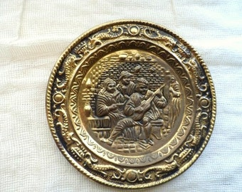 """9"""" Round Brass Wall Plate- Wall Hanging - Repousse Brass Plate - Made in England- Aged Brass- Distressed Brass Finish Wall Plaque"""