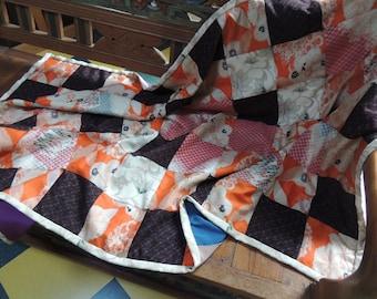 """Vintage Japanese kimono quilt, Japanese lap throw, Kimono futon blanket 35"""" x  54"""" Hand tied kimono quilt"""