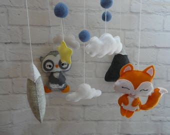 Owl Mobile Fox baby mobile, Coud Mountains Mobile,Nursery mobile, Baby girl mobile, cloud, Baby Crib Mobile, Modern Nursery mobile