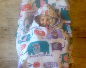 Elephants and Owls Toddler Car Seat Ponchos