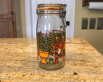 Vintage Glass Jar Canister Made in Italy Kitchen Storage