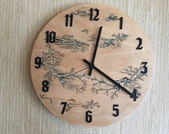 "Wall clock 11 3/4"" (30 cm) ,Modern Wall Clock, Wooden Clock, Plywood Clock,Plywood Lichtenberg art, Unique Wall Clock, Decorative Clock,"