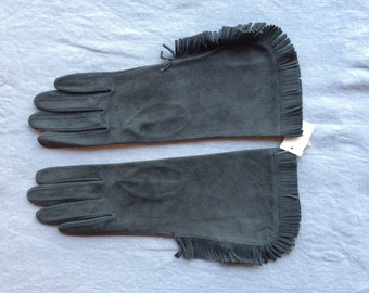 Fringed gray suede gloves