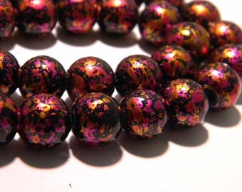 10 glass beads decorated with bright - 10 mm - fuchsia tones and copper K34 3