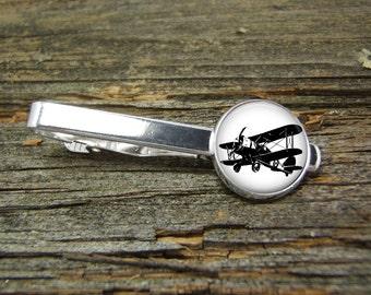 Airplane Aviation Plane Tie Clip-Silver or Gold-Weddings-Gift Box-Handmade-USA-Wedding-Keepsake-Gift-Dad Gift-Men-Antique-Air Plane-Pilot