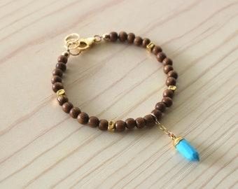 Wood Beaded Bracelet with Turquoise Spike Charm, Boho Layering Bracelet