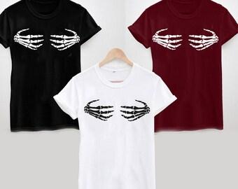 Skeleton Hands on Boobs T-Shirt, Funny, Rude, Halloween, Bones