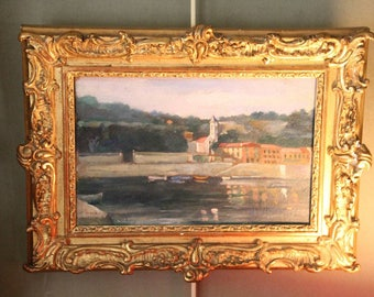 French antique oil painting on cardboard, Landscape oil painting on cardboard, Antique oil painting on cardboard, 1900s french oil painting
