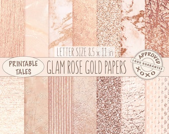 Rose Gold digital papers, Metallic Page, Glam watercolor download, Raffia texture, Glitter Background, Marble planner paper, Shiny Foil RG01