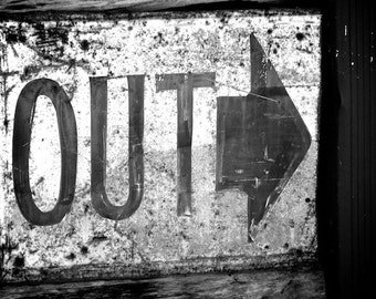 Rustic Art, Out Sign, Industrial Cottage Wall Art, Exit Sign