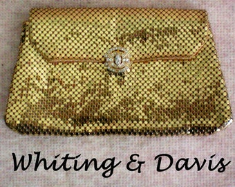 Whiting & Davis Gold Mesh Clutch with Rhinestone Clasp - 3671