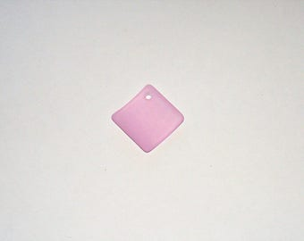"""Cultured Sapphire """"Sea Glass""""  Diamond Square Pendant - 22MM"""