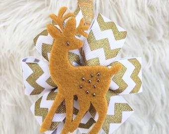 Christmas headband- gold headband -reindeer headband - holiday headband - reindeer bow - christmas bow