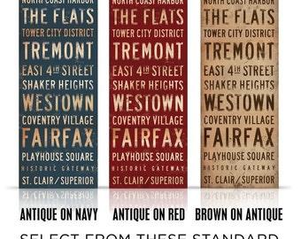 Cleveland Neighborhoods Canvas typography graphic art on canvas by gemini studio
