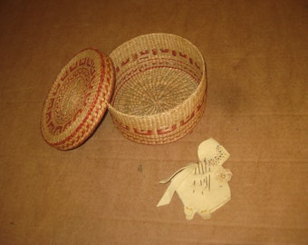 Woven / Wicker sewing Basket with pin cushion   [geo3864bt]