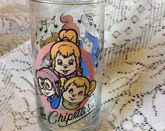 Vintage 1985 The Chippettes Chipmunks cartoon drinking glass
