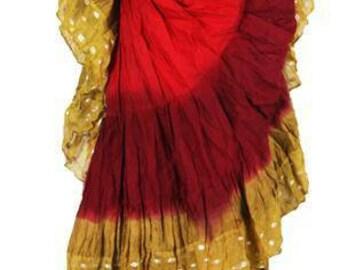 25Yard Multicolor Tribal TyeDyed Gypsy Layer Beautiful FIRE ATS Skirt~