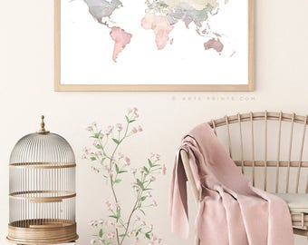 Pastel world map etsy world map print watercolor world map wall art pink blue beige nursery world map gumiabroncs Image collections