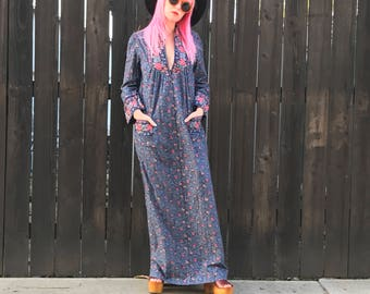 Long Sleeve Dress - Festival Clothing - Boho Maxi Dress - Hippie Clothes - 70s Hippie Boho - 70s XS - Boho Vibes - Floral Dress - Vintage