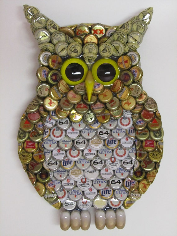 Owl Wall Art With Metal Bottle Cap Owl Sculpture With Mixed