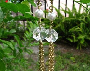 Gold Tone Tassel Earrings Chandelier Beads and Faux Pearls