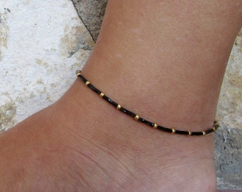 Black Anklet, Black and gold Ankle bracelet, Beach Anklet, Beadwork Jewellery,