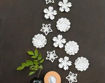 White Flower Wall Decor - White Blossoms, Pop-up Set of 12, wall art