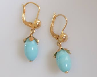 Vintage 18 Carat Gold Turquoise drop earrings