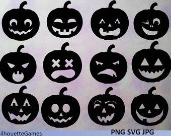 Pumpkin silhouettes, Halloween, svg, jpg, png