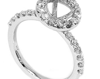 0.55CT SI Diamond Halo Engagement Ring Setting 14K White Gold, Ring Setting, Diamond Setting, SI Diamonds - Size 4-9