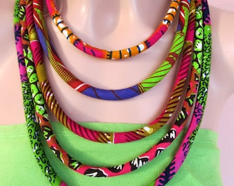 Multi strand necklace, colorful African jewelry , Tribal necklace, statement necklace,Fabric jewelry