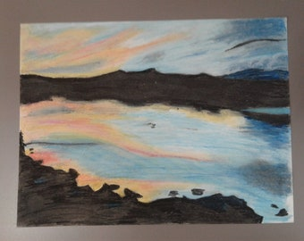 Lake Sunset Oil Pastel