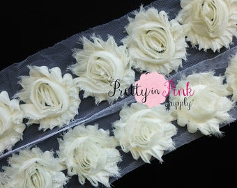 IVORY CREAM  Shabby Rose Trim - Shabby Chiffon Rosettes - 1/2 Yard or 1 Yard - Shabby Flower Trim - Wholesale Shabby Flower -