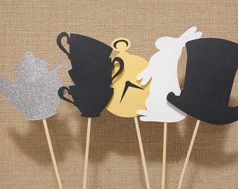 Alice in Wonderland - Mad Hatter's Tea Party Centerpiece Sticks - Set of 5