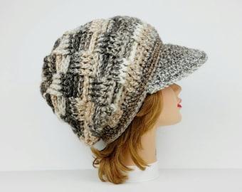 Women's Newsboy Hat, Visor Hat, Slouchy Beanie With Brim, Newsboy Cap, Crocheted Hats For Women, Men's Visor Beanie, Pageboy Hat In Hazel